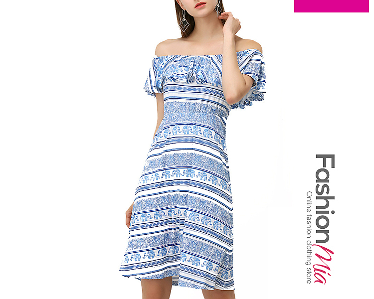 Off Shoulder  Flounce  Striped Tribal Printed Skater Dress 57608ABE7FC2