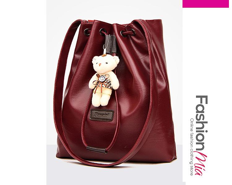 Superior Teddy Bear Decoration Drawstring PU Hand Bags