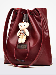 Superior Teddy Bear Decoration Drawstring PU Hand Bags