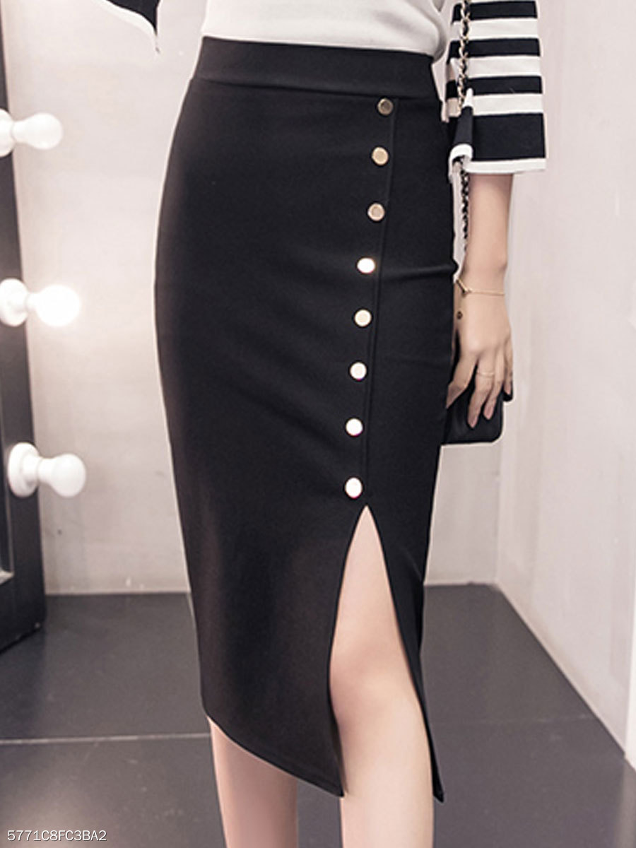 New Style Plain Straight Knee-Length Skirts For Women