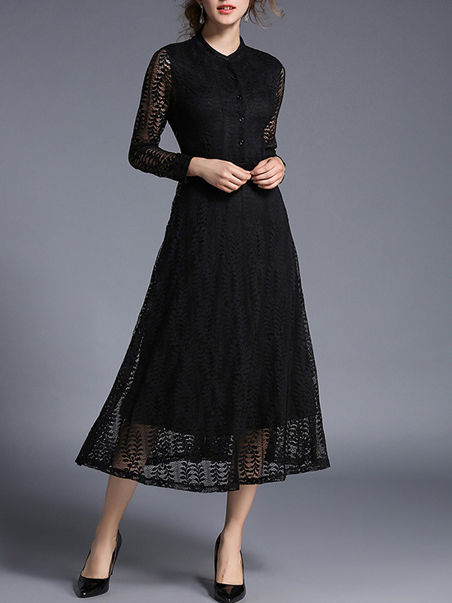 Band Collar Hollow Out Plain Lace Maxi Dress