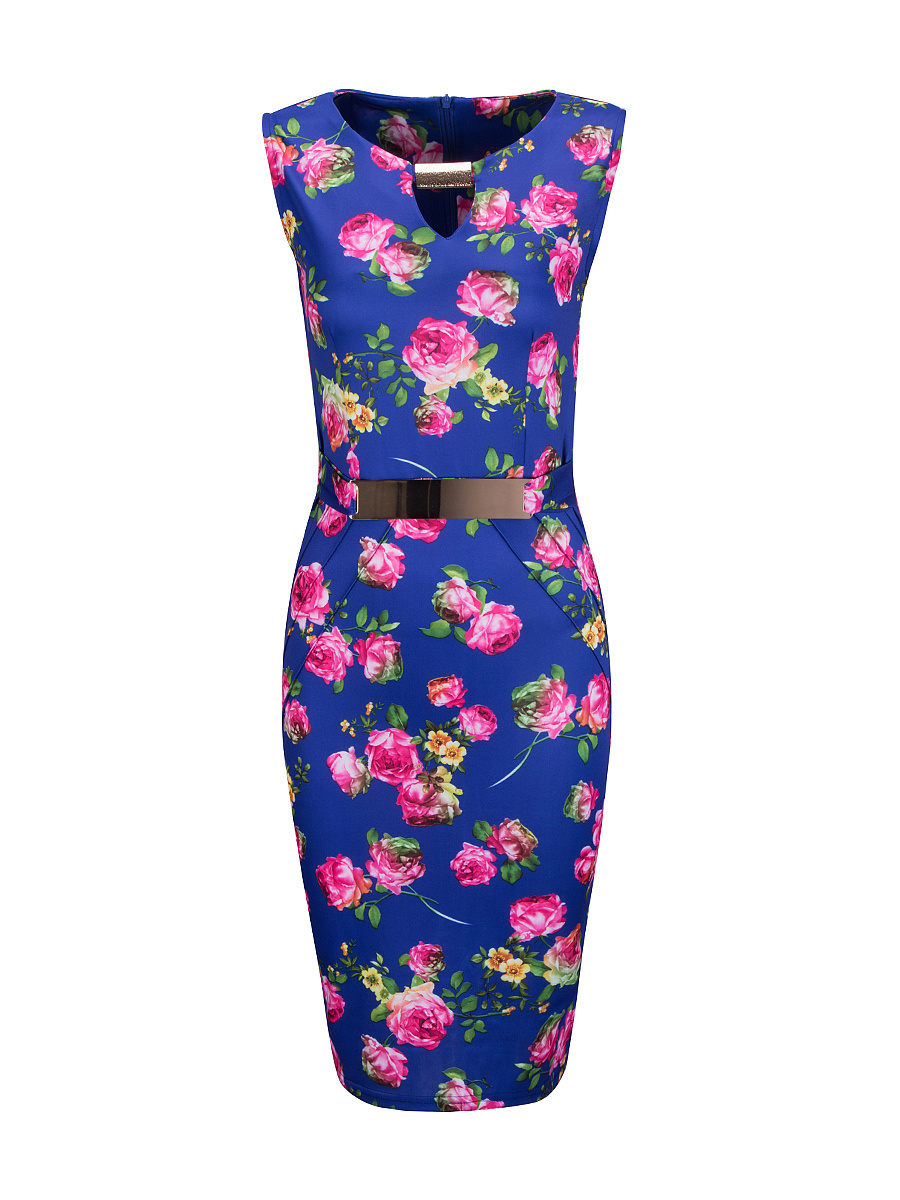 Round Neck Decorative Hardware Keyhole Floral Bodycon Dress