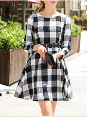 Round Neck  Belt  Plaid Skater Dress