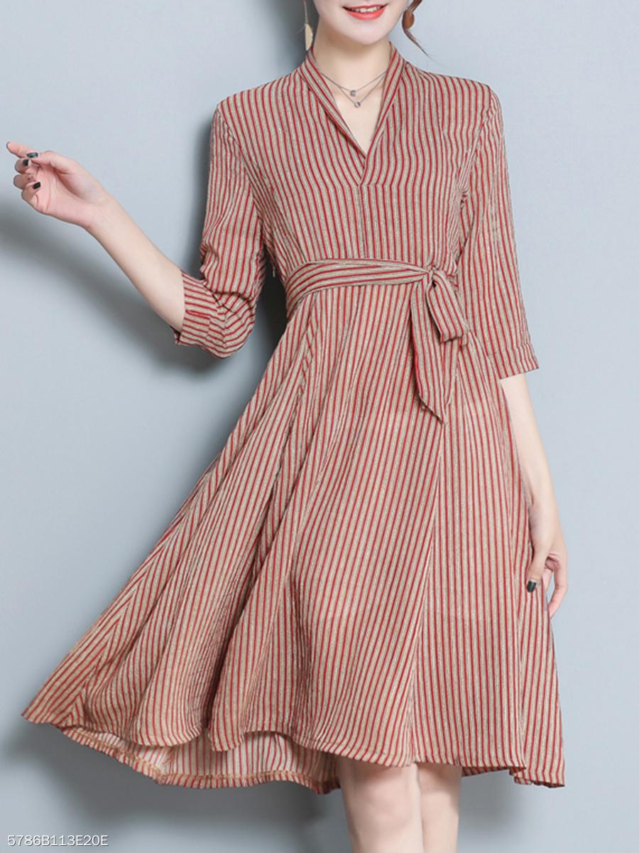 90cabac0b099 V-Neck Fashion Casual Striped Skater Dress - fashionMia.com