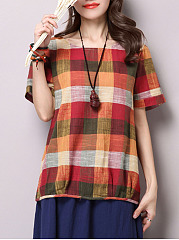 Round Neck  Color Block  Short Sleeve Blouses