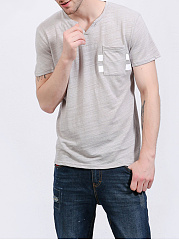 Split Neck Men Patch Pocket T-Shirt