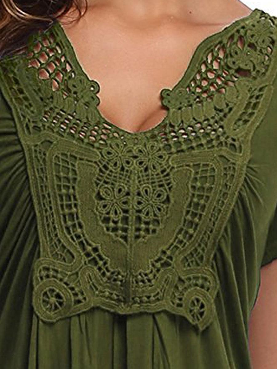 Summer  Blend  Women  V-Neck  Decorative Lace  Plain Short Sleeve T-Shirts