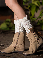 Hollow Out Knit Short Leg Warmers
