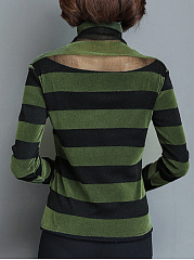 Turtle Neck  Patchwork  Stripes Long Sleeve T-Shirts
