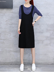 Round Neck Casual Midi Color Block Shift Dress