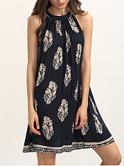Crew Neck Printed Sleeveless Shift Dress