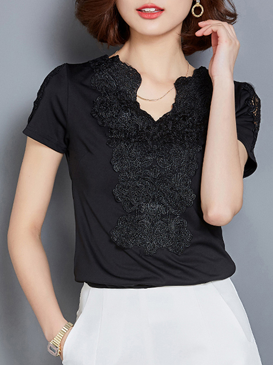Split Neck Decorative Lace Plain Short Sleeve T-Shirt