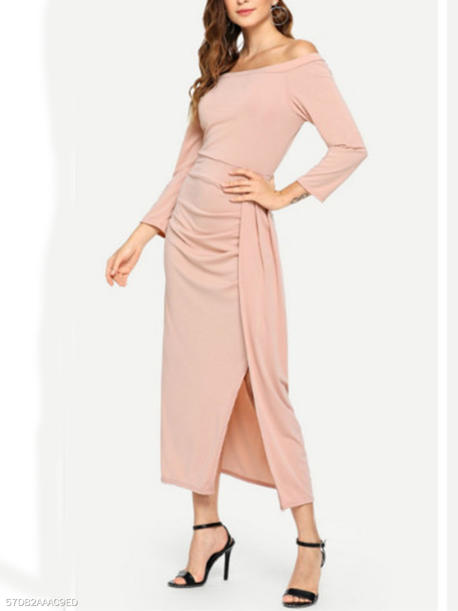 Off Shoulder  Side Slit  Plain Maxi Dress