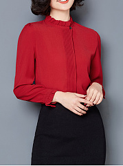 Band Collar  Ruffle Trim  Plain Chiffon Blouse