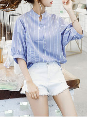 Summer  Polyester  Women  V-Neck  Striped  Puff Sleeve  Half Sleeve Blouses