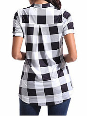 Summer  Cotton  Women  Asymmetric Hem  Plaid  Short Sleeve Blouses