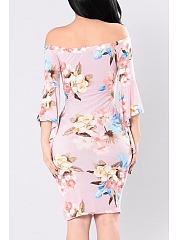 Off Shoulder  Asymmetric Hem  Floral Printed  Bell Sleeve Bodycon Dresses