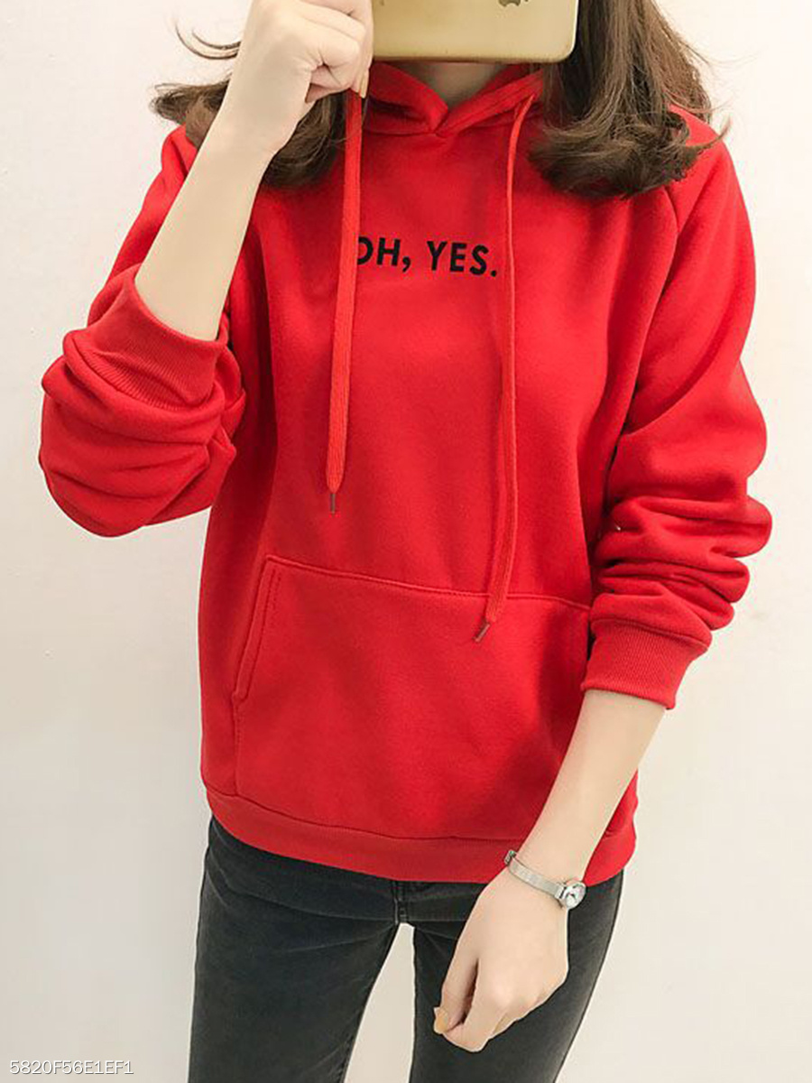 Autumn Spring  Cotton Blend  Hooded  Letters Plain  Raglan Sleeve  Long Sleeve Hoodies