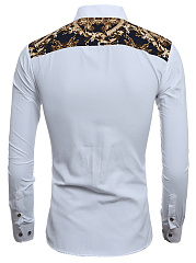 Turn Down Collar  Single Breasted  Printed  Cuffed Sleeve  Long Sleeve Long Sleeves