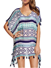 Crew Neck  Fringe  Brocade  Half Sleeve Tunic