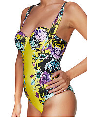 Yellow Sexy Abstract Print One Piece For Women