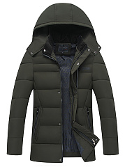 Hooded Men Quilted Pocket Plain Padded Coat
