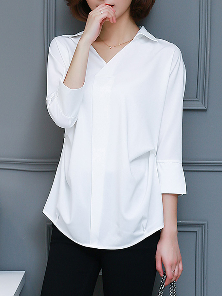 V-Neck Plain Batwing Sleeve High-Low Blouse
