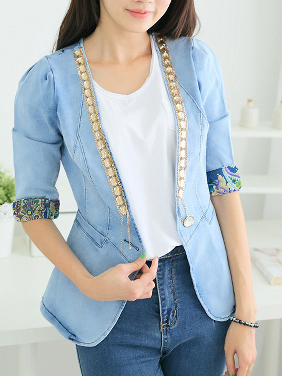 Denim Single Button Rhinestone Chain Blazer