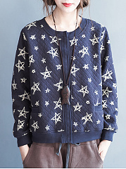 Collarless Star Printed Quilted Jacket