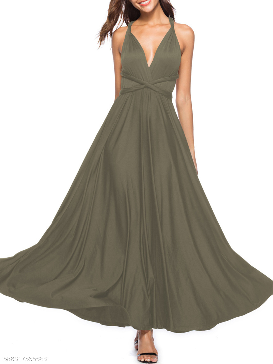 V-Neck  Two Way  Plain Maxi Dress
