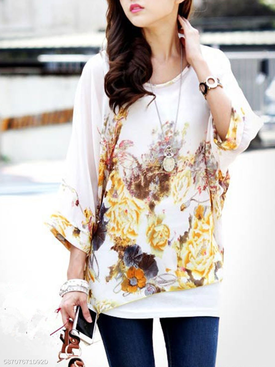 See-Through Batwing Sleeve Tunic In Floral Printed