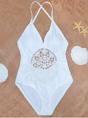 Hollow Out Plain Spaghetti Strap One Piece