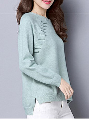 Round Neck  Patch Pocket  Plain  Long Sleeve Sweaters Pullover