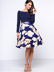 Women Vintage Floral Printed Skater Dress