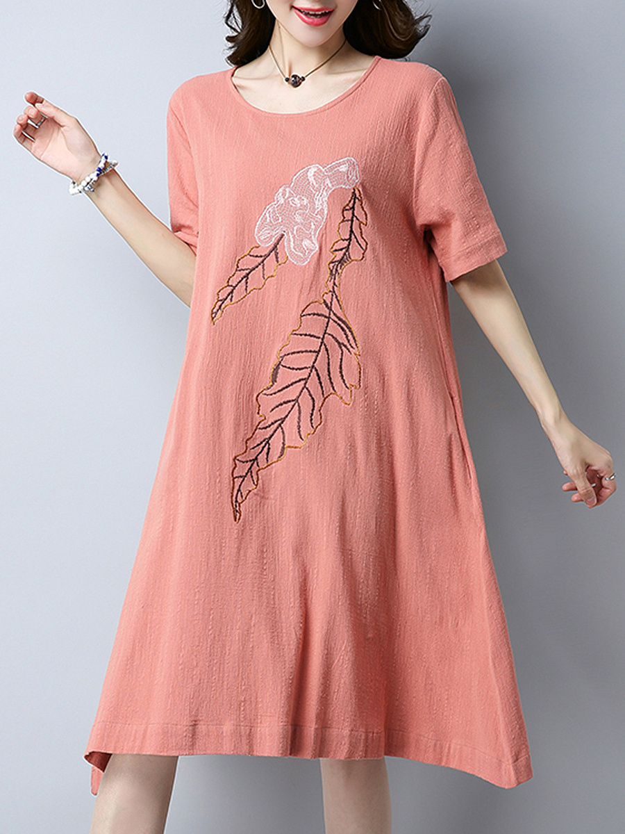 Embroidery Round Neck Pocket Midi Shift Dress