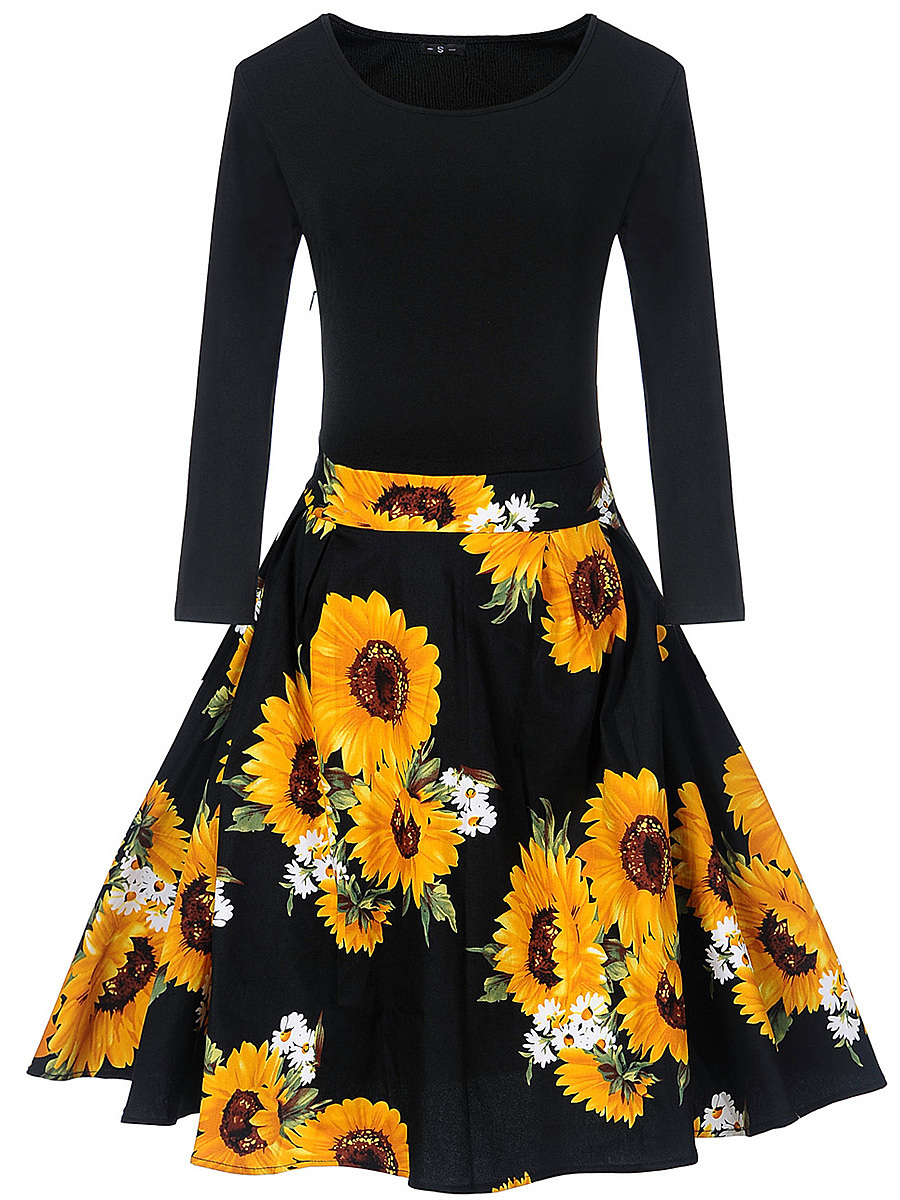 Delightful Sunflower Printed Round Neck Skater Dress