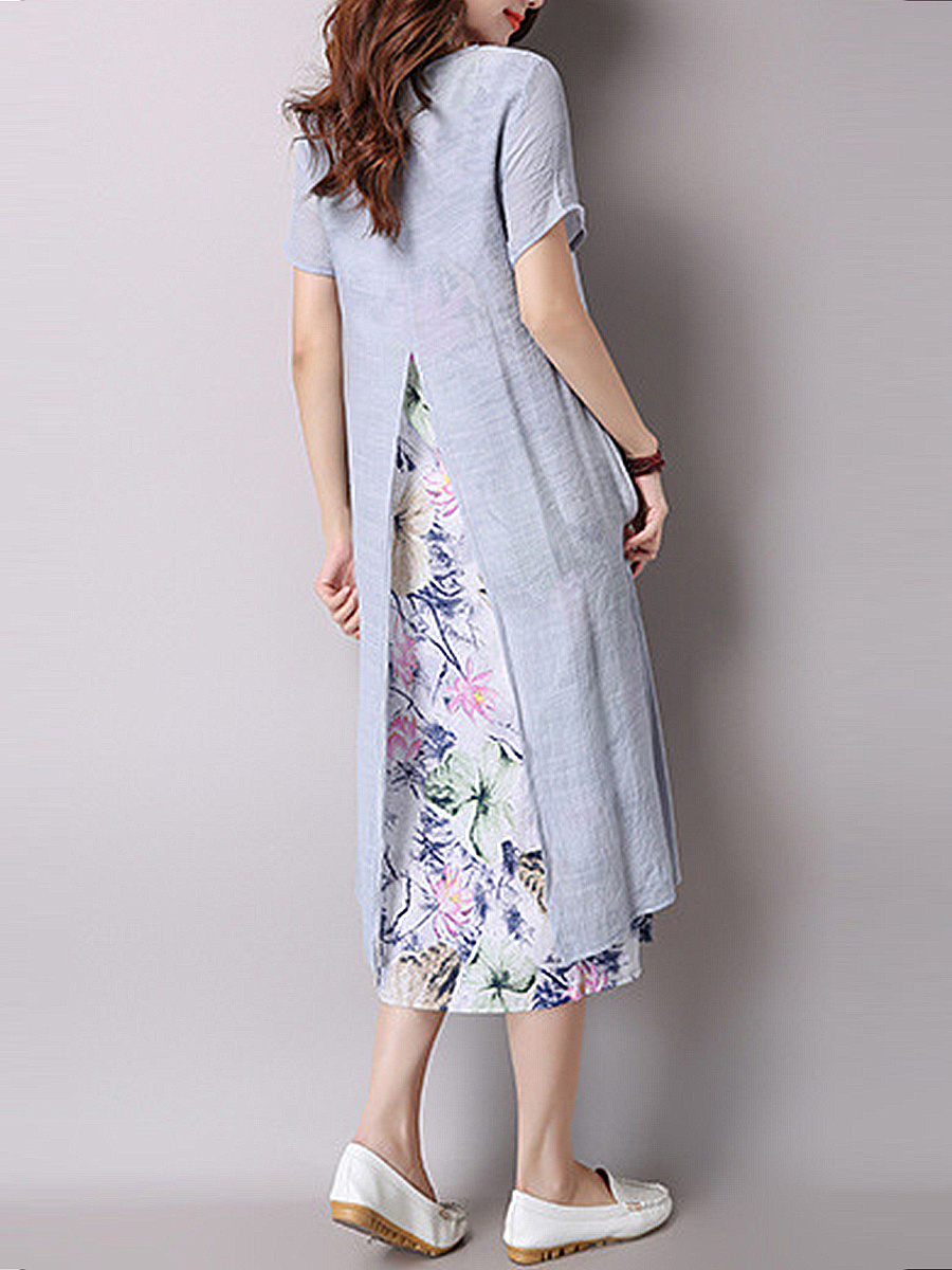 Floral Printed Round Neck Fake Two-Piece Maxi Dress