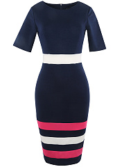 Round Neck  Asymmetric Stripe Bodycon Dress