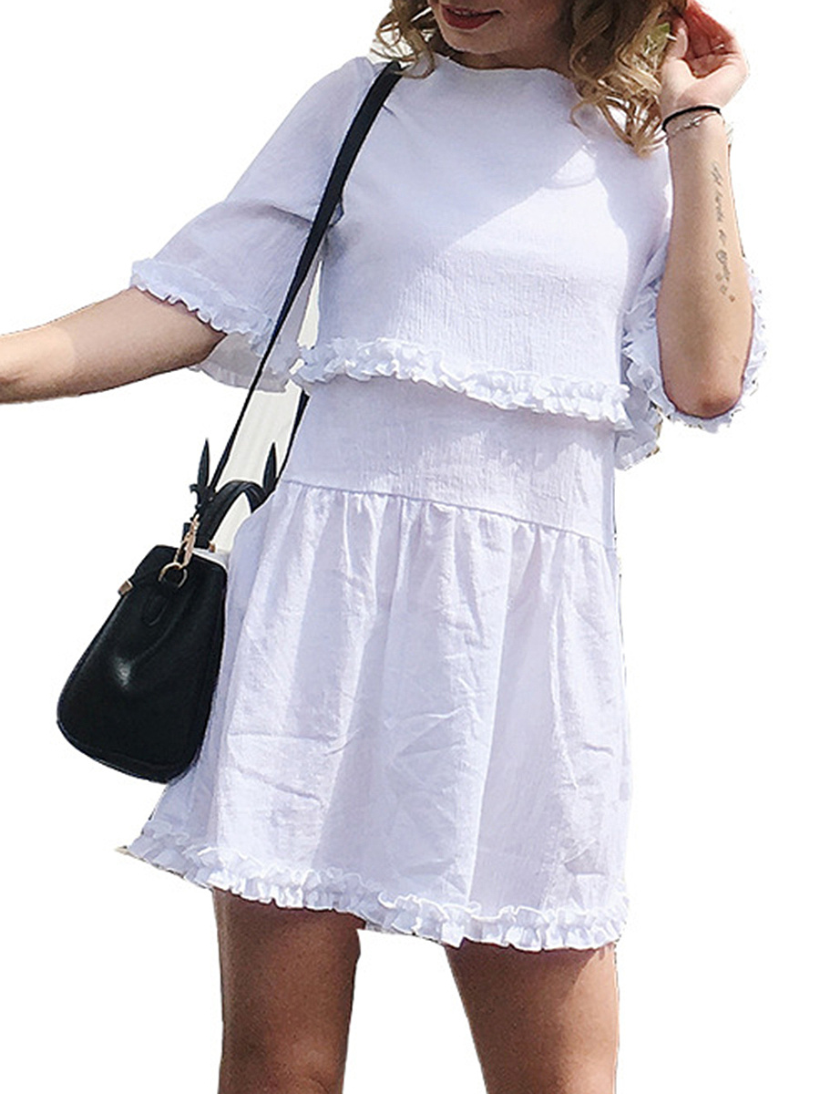 Round Neck  Ruffle Trim  Plain Skater Dress