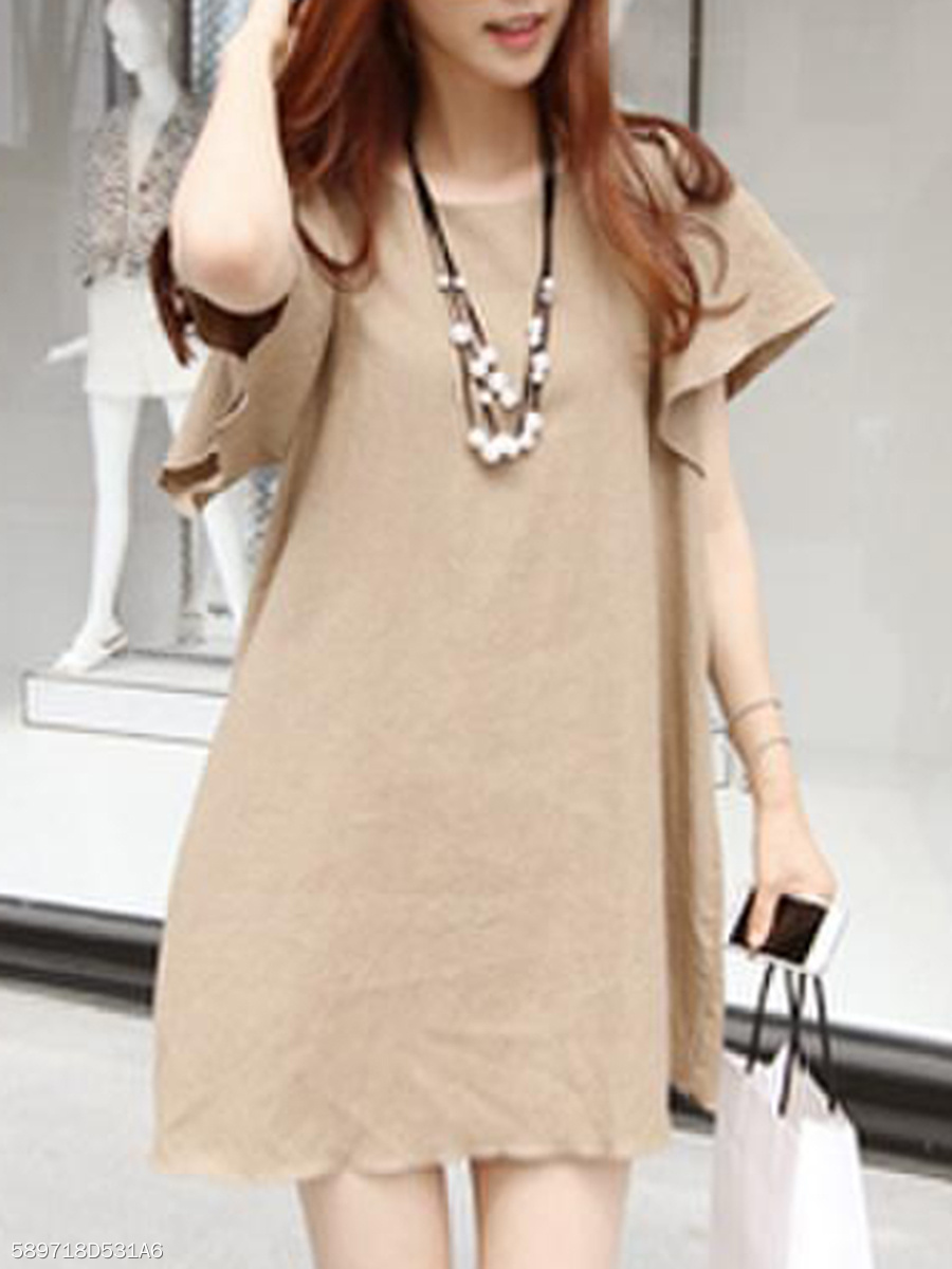 Midi Round Neck Casual Plain Shift Dress