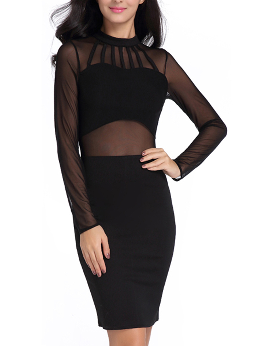 Sexy Band Collar Patchwork See-Through Plain Bodycon Dress