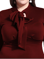 Tie Collar  Plain Plus Size Bodycon Dress
