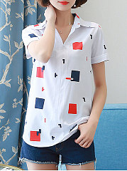 Summer  Polyester  Women  Turn Down Collar  Asymmetric Hem Patch Pocket  Geometric  Short Sleeve Blouses