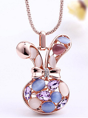 Bunny Shape Imitated Crystal Cute Necklace