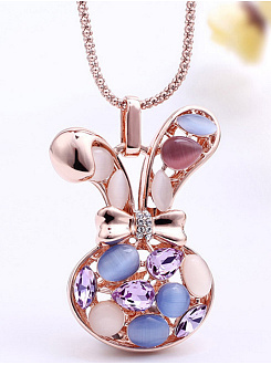 Bunny Shape Crystal Cute Necklace