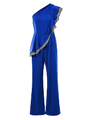 One Shoulder Striped Flounce Wide-Leg Jumpsuit