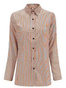 Autumn Spring  Cotton  Women  Single Breasted  Striped  Long Sleeve Blouses