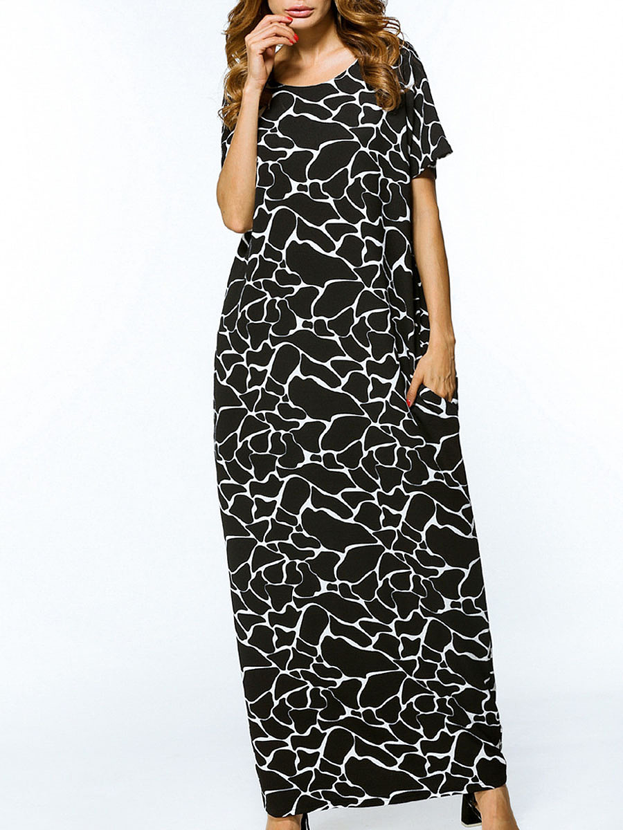 Casual Round Neck Pocket Printed Maxi Dress