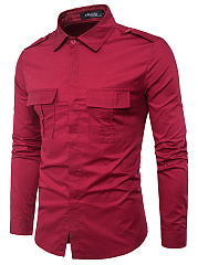Flap-Pocket-Plain-Men-Shirts