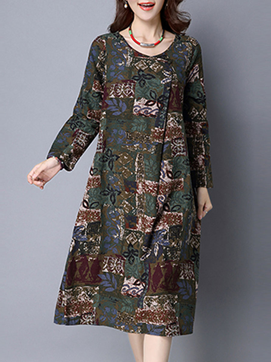 Round Neck Pocket Multi-Color Printed Maxi Dress